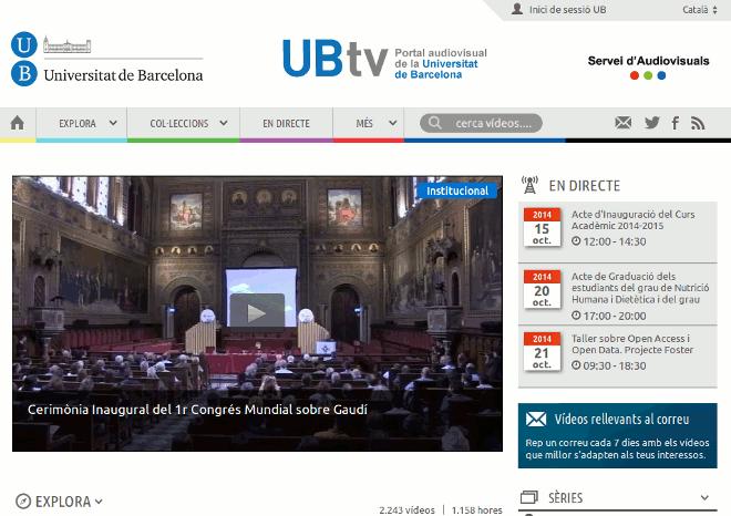 UBtv – Portal Audiovisual de la Universitat de Barcelona